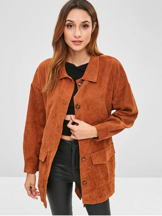 trendy Corduroy Tunic Shirt Jacket with Belt - BROWN XL