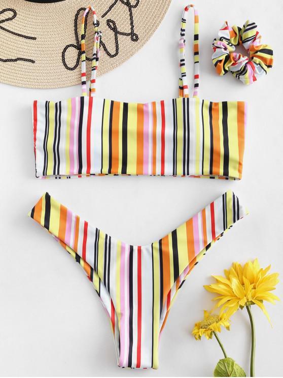 ZAFUL Bikini de Cami de Rayas de Colores con Diadema - Multicolor-B L