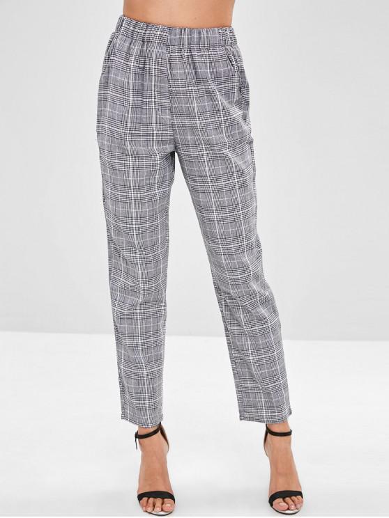 Pantalones rectos a cuadros de cintura elástica - Negro M
