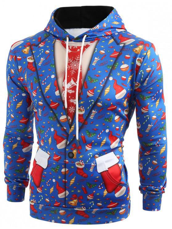 affordable 3D Christmas Elements Blazer Print Hoodie - OCEAN BLUE M