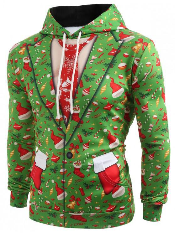 women's 3D Christmas Elements Blazer Print Hoodie - CHARTREUSE L