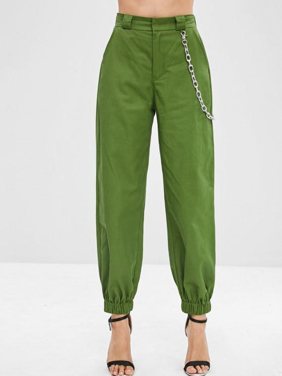 hot Chain Embellished Jogger Pants - MEDIUM FOREST GREEN L