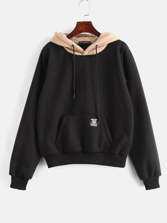 affordable ZAFUL Pouch Pocket Fleece Pullover Hoodie - BLACK S