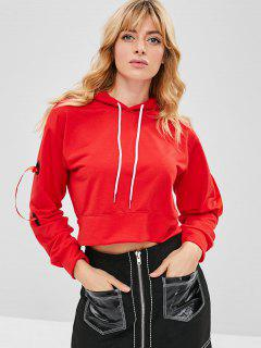 Ribbons Grommet Cropped Hoodie - Red