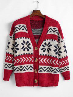 Vintage Jacquard Christmas Cardigan - Red