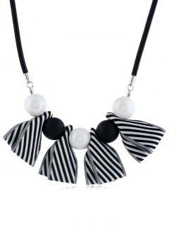 Bowknot Ball Decor Pendant Necklace - Black