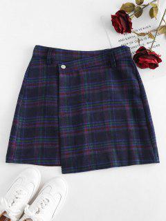 Faux Wool Checked Mini Skirt - Multi L