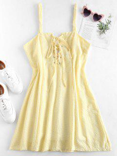 Lace-up Gingham Mini Dress - Corn Yellow L