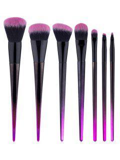7 Pcs Rhombus Handles Fiber Hair Makeup Brush Set - Black Regular
