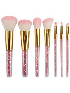 Shiny Faux Crystal  Handles Pink Fiber Cosmetic Brush Set - Pink Regular
