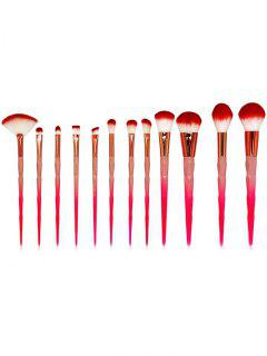 12  Pcs Gradient Red Handles Fiber Hair Cosmetic Brush Set - Red Regular