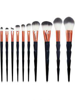 10PCS Diamond Shaped Makeup Brushes - Black Regular