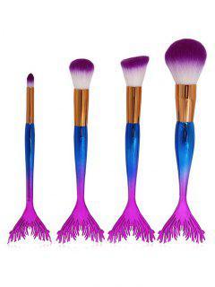 4Pcs  Mermaid Handles Synthetic Fiber Hair Makeup Brush Set - Ocean Blue Regular