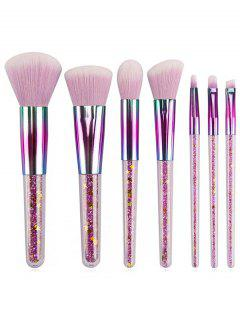 Professional 7 Pcs Rainbow Handles Ultra Soft Makeup Brush Set - Mauve Regular