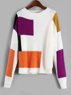 Casual Pullover Color Block Sweater - White
