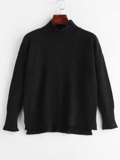 Side Slit Mock Neck Sweater - Black