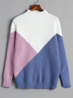 Pullover Color Block Mock Neck Pullover - Multi