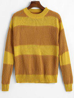 Drop Schulter Farbe Block Chunky Sweater - Gelb