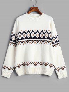 Drop Schulter Geometrischen Pullover Pullover - Weiß