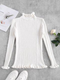 Ribbed Slim Frilled Trim Sweater - White