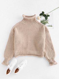 Chunky Knit Drop Schulterpullover - Helles Khaki