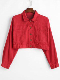 Patch-Taschen Abgeschnittene Jeansjacke - Rot