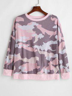 Loose Drop Shoulder Camouflage Sweatshirt - Multi M