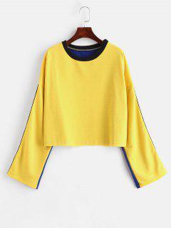 Raw Hem Side Striped Sweatshirt - Yellow Xl
