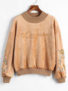 Samt Bestickt Sweatshirt - Karamell S