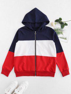 Contrast Color Block Zipper Hoodie - Multi L