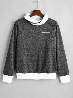Raglan Sleeve Zippered Sweatshirt - Carbon Gray S