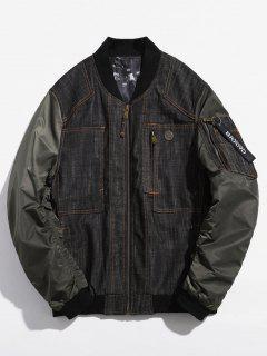Stitch Denim Patchwork Jacke - Armeegrün 2xl