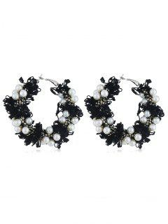 Statement Flower Decoration Artificial Pearl Earrings - Black