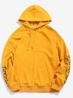Sleeve Letter Embroidered Hoodie - Bright Yellow S
