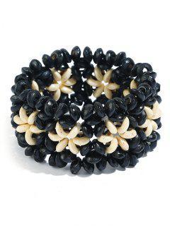 Ethnic Floral Pattern Beads Bracelet - Black