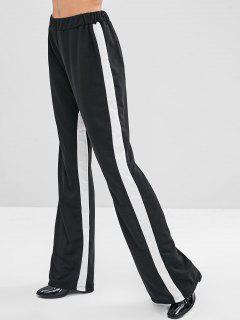 Elastic Waist Contrast Two Tone Pants - Black S