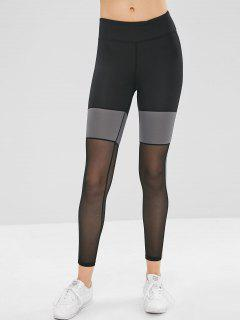 Mesh Insert Color Block Skinny Leggings - Black L