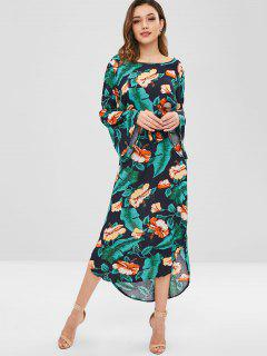 Palm Leaves Fare Sleeve Floral Dress - Multi L