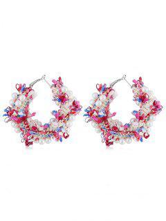 Statement Flower Decoration Artificial Pearl Earrings - Multi