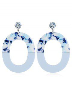Oval Geometric Drop Earrings - Blue