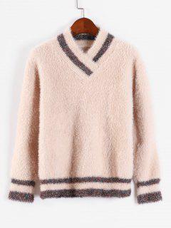 Fuzzy V-Ausschnitt Pullover Pullover - Champagner