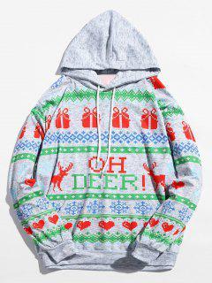 Christmas Heart Printed Drwastring Hoodie - Multi L