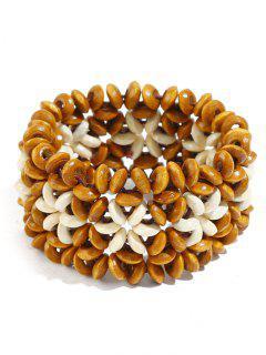 Ethnic Floral Pattern Beads Bracelet - Orange Gold