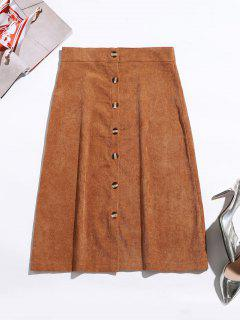 Button Up Corduroy Mid Calf Skirt - Caramel S