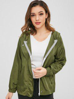 Plain Hooded Zip Up Jacket - Army Green L