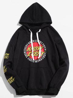 Letter Round Graphic Loose Hoodie - Black L