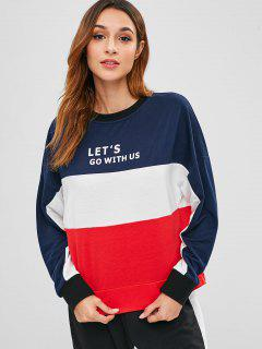 ZAFUL Letter Graphic Contrast Loose Sweatshirt - Multi L