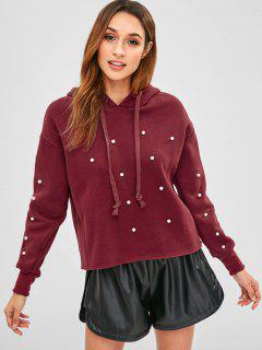 Faux Pearl Beads Fleece Pullover Hoodie - Red Wine Xl