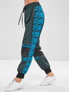 Patterned Drawstring Jogger Pants - Dark Green M