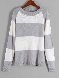 Raglan Sleeve Stripes Sweater - Gray Cloud